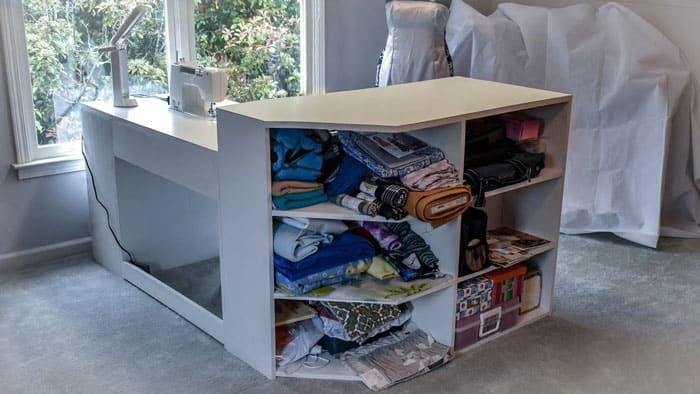Wood-Table-Side-Cubby-Sewing-and-Crafts-Table
