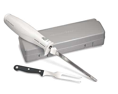 Hamilton Beach 74250R Electric Knife with Storage Case and Serving Fork, White