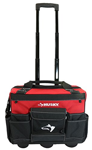 Husky 18 Inch 600-Denier Red Water Resistant Contractor's Rolling Tool Tote Bag