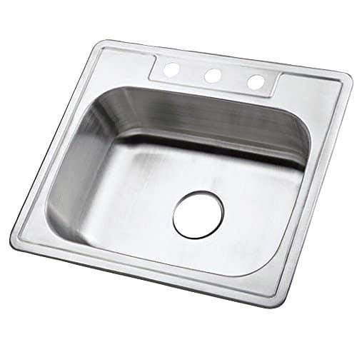 Kingston Brass Gourmetier GKTS2520 Self Rimming Single Bowl Kitchen Sink