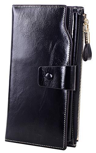 Obosoyo Women's Large Capacity Luxury Wax Genuine Leather Wallet
