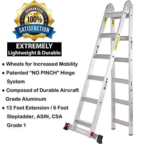 TOPRUNG 12ft. 2IN1 Aluminum Extension Ladder