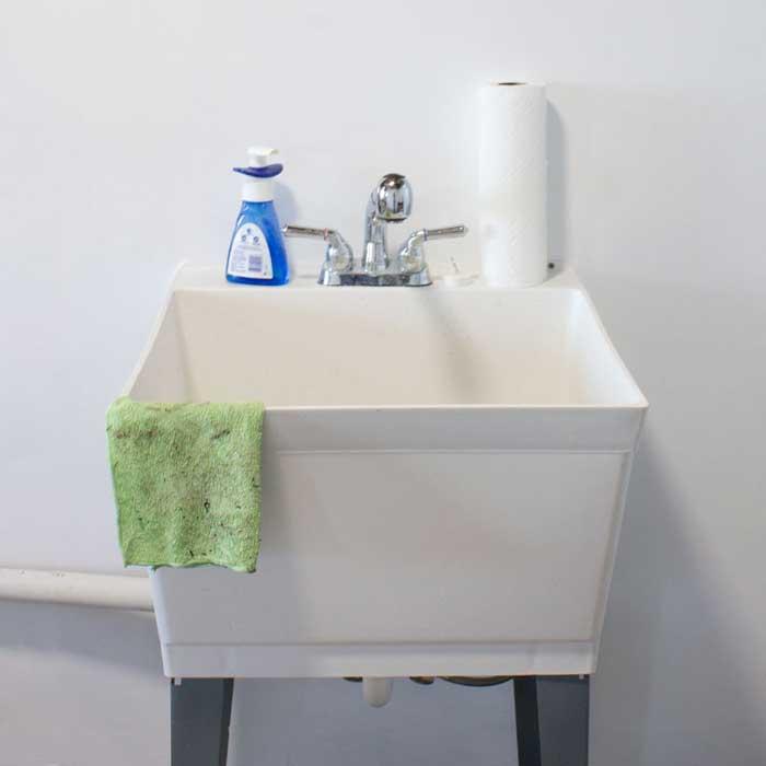 Scrub Utility Sink with a soft-bristled brush