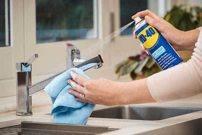 Spray WD-40 on the sink